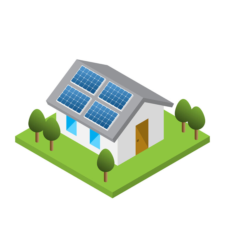 Simple isometric house with solar roof panels, isolated white background