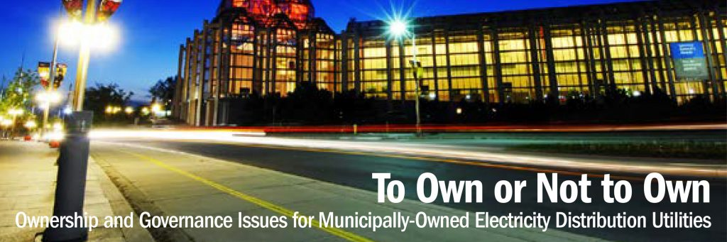 To Own or Not to Own: Ownership and Governance Issues for Municipally-Owned Electricity Distribution Utilities
