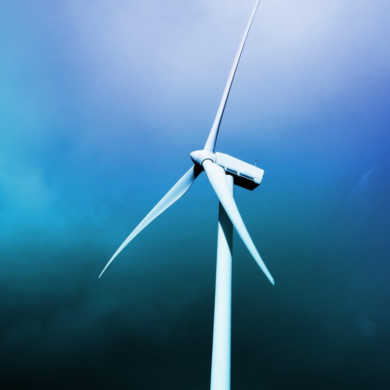 Wind Turbines with blue sky in the background