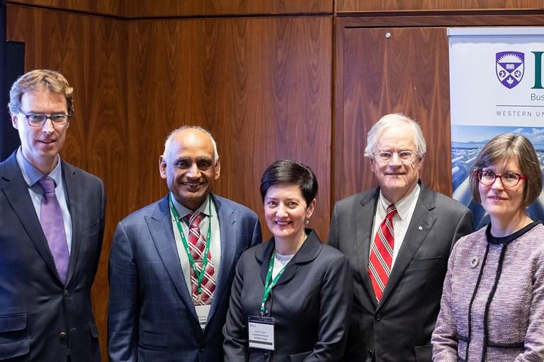 (L-R) Guy Holburn, Ivey Business School; Vinay Sharma, London Hydro; Karen Taylor, CCRE; Richard Dicerni, Ontario Energy Board; Cynthia Chaplin, CAMPUT.