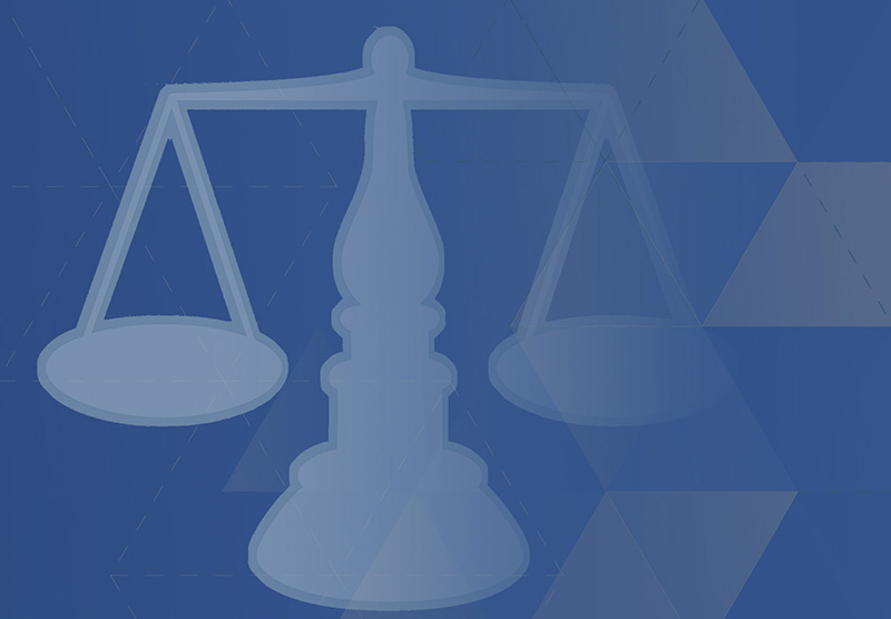 Scales of Justice on a blue background